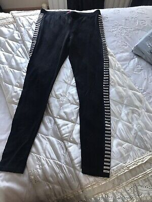 Black Leggings With Silver Stud Detail On Each Side Size 10