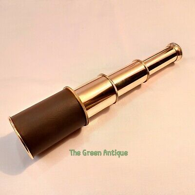 Antique Brass Telescope Leather Grip Vintage Maritime