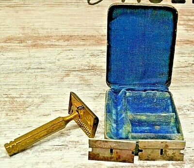 Vintage Ever Ready Brass Safety Razor w/ Continental and Treet Blades