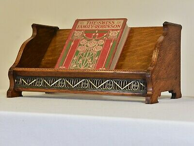 PAIR of ARTS & CRAFTS OAK INLAID TABLE BOOK STANDS 1910
