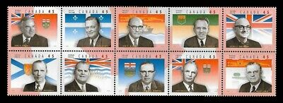 Canada Stamps — Pane of 10 — Provincial Premiers (Premiers Ministres) #1709 —MNH