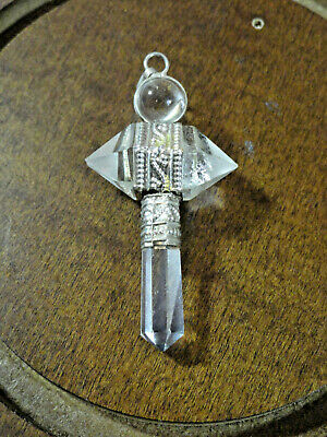 "Quartz Crystal decorative Cross pendant/pendulem silver accents 2""x1""~viking~"