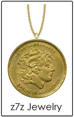 "ALEXANDER the GREAT Necklace - gold macedonia coin hellenistic greece 24"" z7qq"