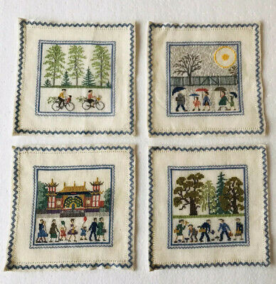 X4 VINTAGE CROSS STITCH SAMPLERS 15x15 cms COMPLETED