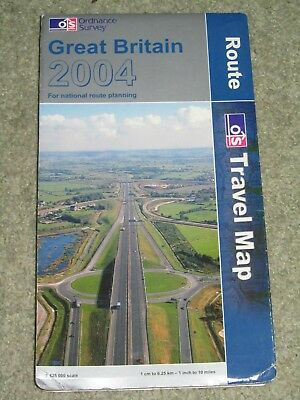 OS Ordnance Survey Great Britain Route Travel Map 2004 1:625,000 scale