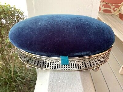 Victorian Webster Teal Blue Green Sterling Silver Jewelry Box