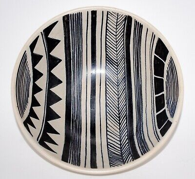 Mid Century Hand Painted Geometric Art Pottery Bowl. Finland, Artist Signed