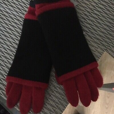 Hannah Rose Dark Red and Black 4ply Cashmere Texting Gloves, O/S