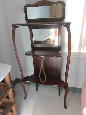 20Th Century Wooden  Etagere With 2 Mirrors And 3-Tier Shelves
