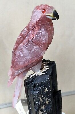 "Falcon carved from Quartz with Hema  Tourmaline   8 1/2""  Peter Muller"