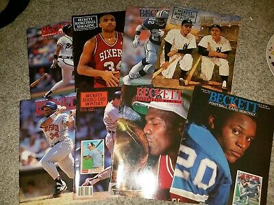 Vintage Beckett Magazine Lot of 8 MLB NFL NBA Basketball Baseball Football Cards