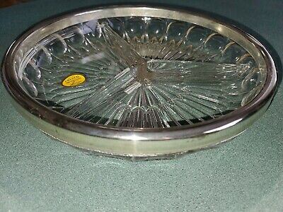 Leonard Crystal Silverplate of Italy 9 inch Tri Serving Dish Genuine new