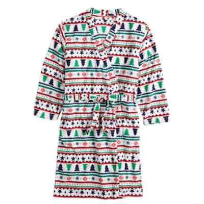 FAMJAMMIES Kid/'s Unisex 3T Microfleece Hooded Santa Robe NWT