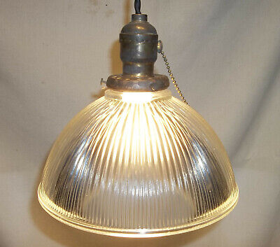 Antique Holophane Hanging Ceiling Pendant Light Lamp Rewired Ready to Use
