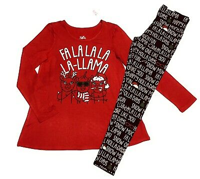 Size 10 Justice Girls Graphic Tshirt Tee Glitter Leggings Set Holiday Outfit NWT