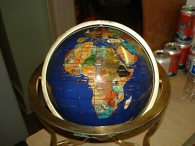 Pre-Owned Semiprecious Gemstone World Globe On Stand With Compass 8 Inch