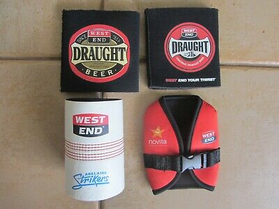 4 X ASSORTED  WEST END DRAUGHT BEER Stubby Holders. (Unused)