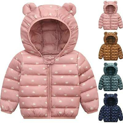 Toddler Baby Girl Winter Warm Padded Hooded Coat Thick Jacket Outwear Snowsuit