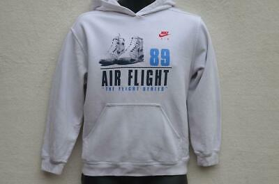 VINTAGE NIKE 'Air Flight 89' White Long Sleeve Hoodie Jumper Boys 14-16 Yrs