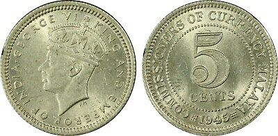 British Malaya 1945 Five Cent 5c MS63 Choice Unc