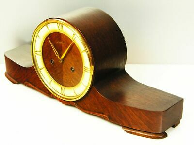 Art Deco Chiming Mantel Clock From  Junghans Black Forest With Pendulum