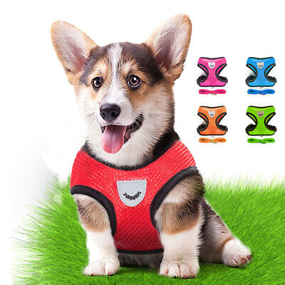 Breathable Mesh Small Dog Cat Pet Harness Leash Set Puppy Collars Adjustable