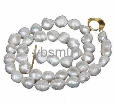 21X17mm Baroque white Reborn Keshi pearls necklace
