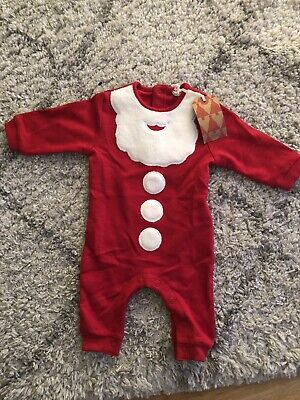 Next Baby Boys Christmas Santa  Romper Suit Age 0-3 Months BNWT Tag RRP £13