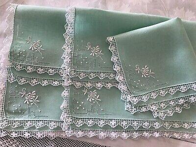 VINTAGE SET of 6 MINT GREEN LINEN SERVIETTES, HAND-EMBROID, KNOTTED LACE EDGING