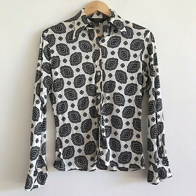 vintage long sleeve boho print button up down shirt top blouse