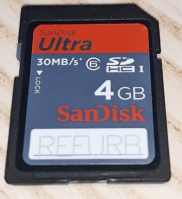 Sandisk UlTRA 4GB High Capacity SD Memory Card /30MBs   - Refurb - Class 6