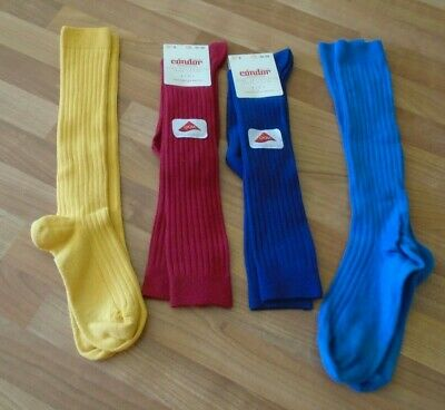 Condor ribbed Spanish knee socks bundle 2 pair BNWT blue red yellow size 8 32-35