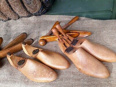 4 pairs Vintage Wooden Shoe Lasts Hinged Wood Trees Stretchers Cobblers Feet