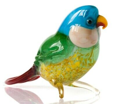 "Blue Green Parrot Figurine Blown Glass ""Murano"" Art Animal Bird Sculpture"