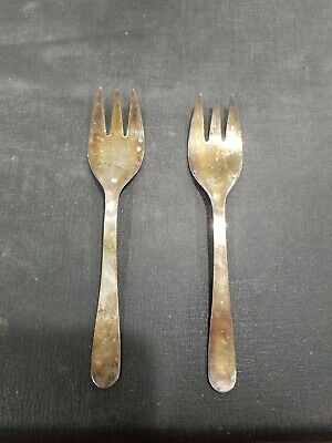 2 Vintage Leonard Silverplated Italy Baby Fork  Toddler Silver Plate