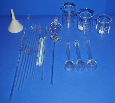 Labor glaswaren, Set, Scheidetrichter, Flaschen, Pipetten,  Laborglas, Becher