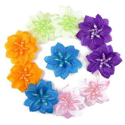 Buddly Crafts 45mm Beaded Silk Flowers - 10pcs FH2