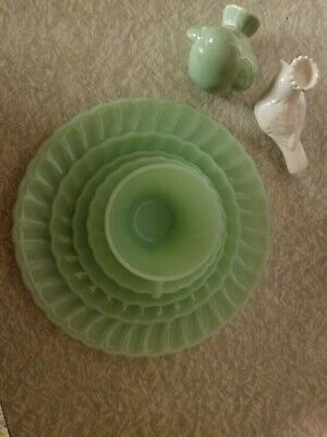 Fire king jadeite Swirl Place Setting (Dinner Plate,  Salad Plate, (4) Avail