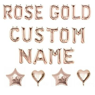 Rose Gold Letter Number Foil Balloons Personalised Custom Birthday Party Wedding