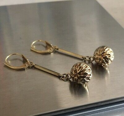 Antique Victorian Edwardian 8k 8ct Gold Drop Earrings Gorgeous Very Rare.