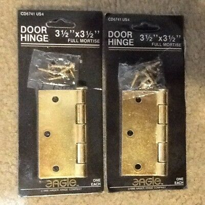 "HAGER EAGLE CD6741 3.5"" x 3.5"" FULL MORTISE POLISHED BRASS DOOR HINGES 1 PAIR"