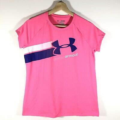 Under Armour HeatGear Short Sleeve T-Shirt Graphic Loose Pink Girls XL