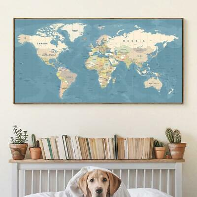World Map Decorative Picture Canvas Wall Art Print Painting