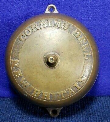 Vtg/Antique New Britain Corbins Bell Door Bell Brass & Cast Iron Pat.1872