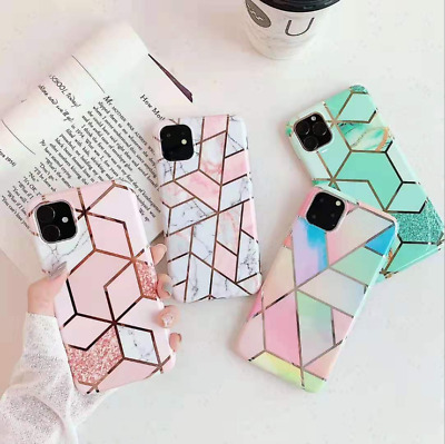 Geometric Marble Case for iPhone 11 Pro Max XS MAX XR 8 7 Plus Soft Pastel Cover