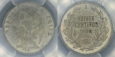 Chile 1908-So 20c Twenty Cent PCGS AU58 aUNC
