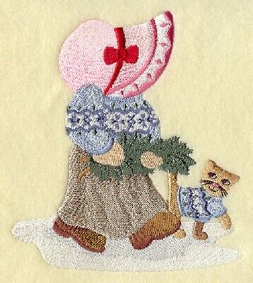 """9 x 12/"""" Embroidered Horizontal Quilt Block Sunbonnet Sue in France Pre Order"""