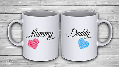 Set Of 2 Mugs Personalised Mummy Daddy Coffee Mug Tea Cup Present Gift Birthday