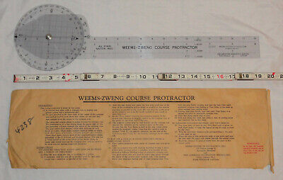Uncommon Weems-Zweng & Pan American Navigation Nautical Course Protractor © 1957