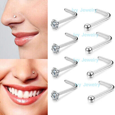 2-5pcs Nose Studs Ball Zirconia Gem L Surgical Steel Ring Bar Piercing Jewelry